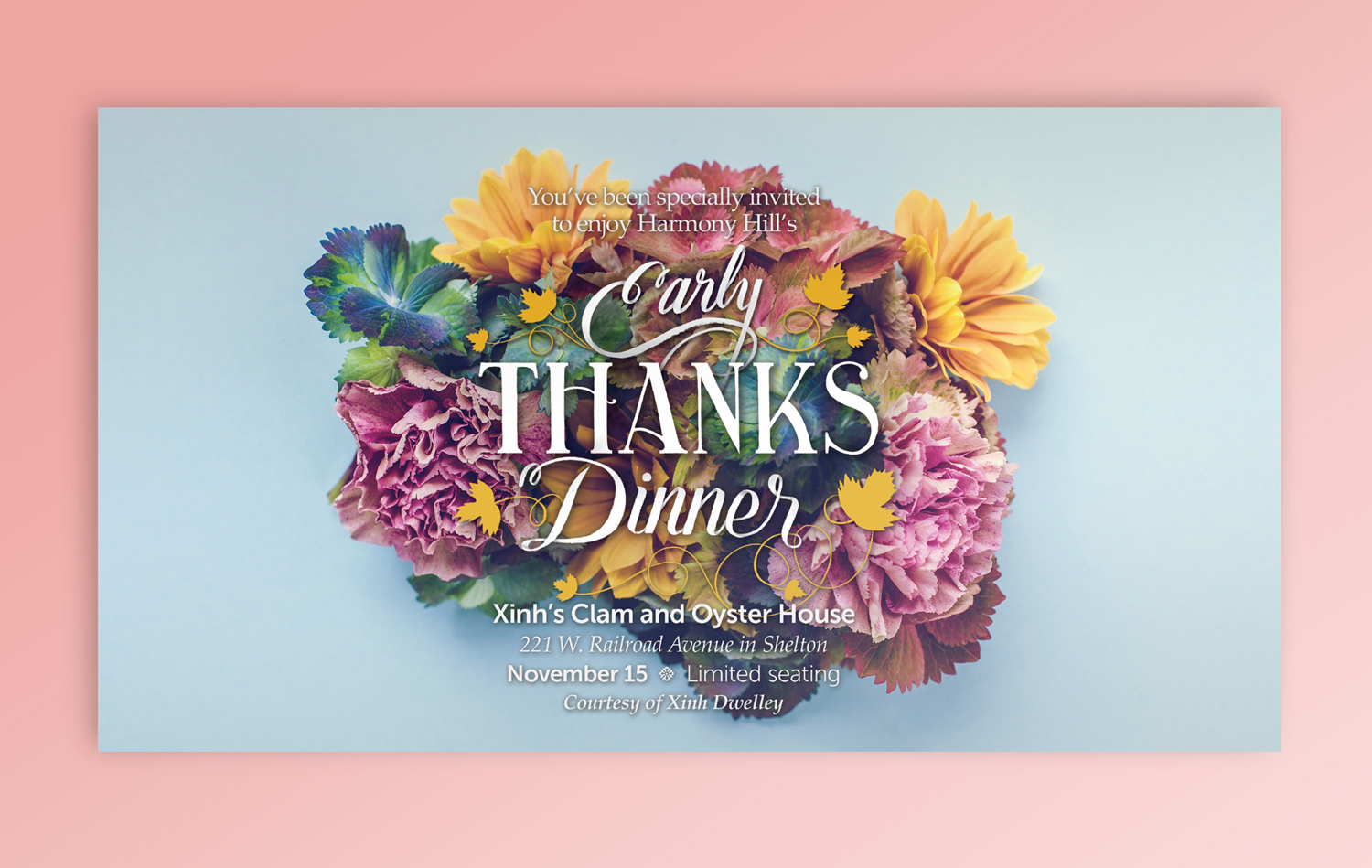 Invitation for Harmony Hill's Early Thanks Dinner