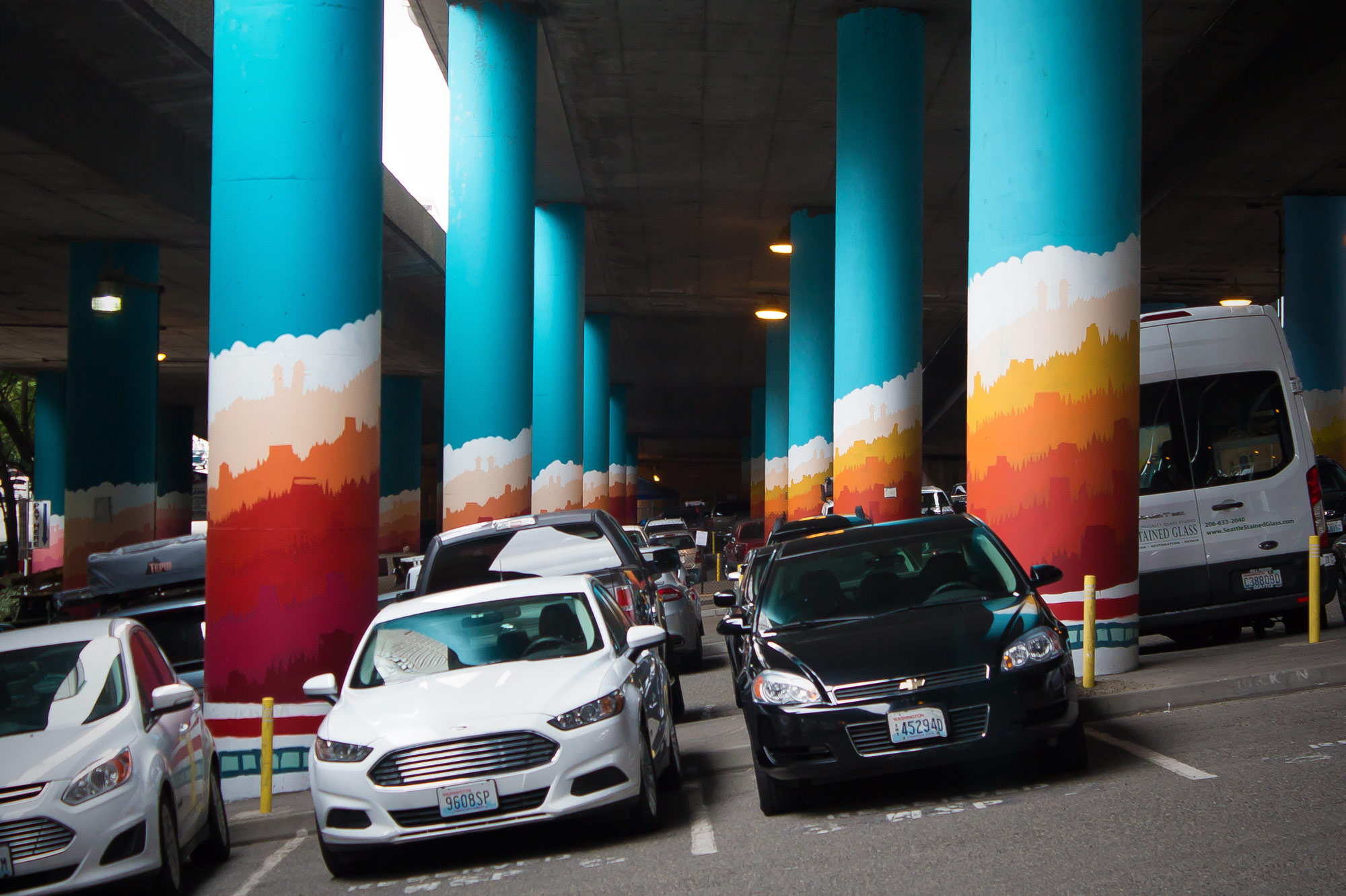 Public Art: Seattle's I-5 Column Murals - 'Sunlight Over First Hill' by Nathan Watkins